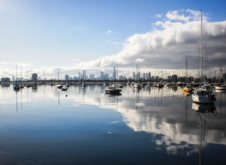 st kilda:  reflection of St Kilda Stock Photo