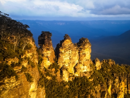 Three sister rock at blue mountain Australia Stock Photo