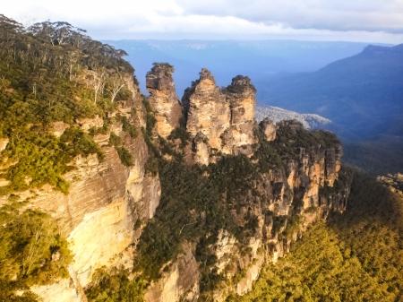Three sister rock at blue mountain Australia Stock Photo