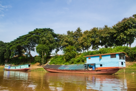 boat house in mekong river between Thailand and Loas