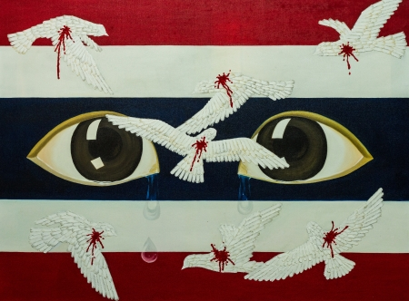flad: Crying Eyes and birds with flad symbol painting