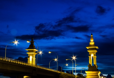 Bridge border between Thailand and Laos with evening blue sky photo