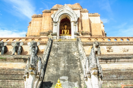 antique pagoda in the temple of Chiang mai Stock Photo