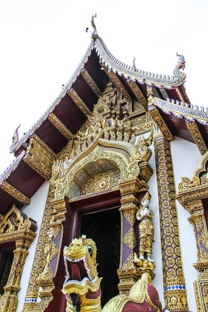 wat: thai temple design in Chiang mai of Thailand