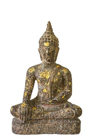 Sitting rock buddha image with white background Stock Photo - 17441167
