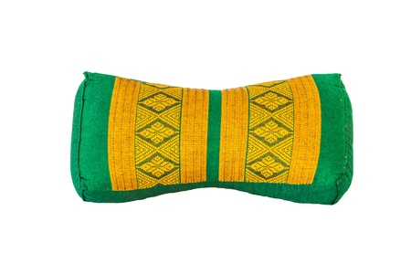 Green and yellow Thai design pillow with white background Stock Photo - 17441197