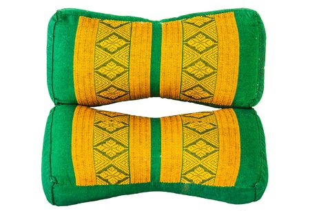 Green and yellow Thai design pillow with white background Stock Photo - 17441221