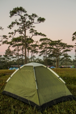 Green tent on top of Phu kra dueng mountain Thailand photo