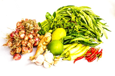 Mix  fresh vegetable ready for cook in white background photo