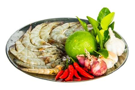 Fresh shrimp with fresh ingredients in white background