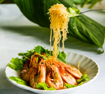 shrimp cooking with bean noodle in Thai style photo