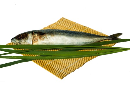 fresh saba with bamboo wrap and lemongrass leaf photo
