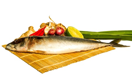 fresh saba on bamboo wrap and ingredients photo