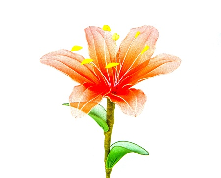 unreal orange flower with green leafs on white background Stock Photo - 17720180
