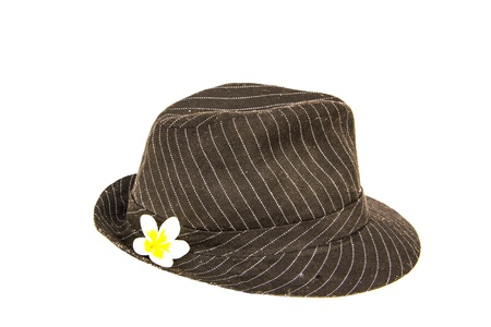 Black hat with white flower photo
