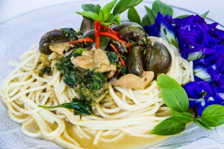 spagetti green curry sauce with herbal vegetable decoration Stock Photo - 17720323