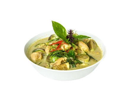 Thai green curry  ready for serve in white background Stock Photo
