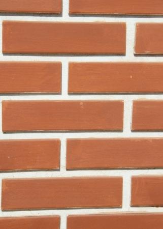 Orange brick building wall with white line photo