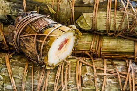 sticky rice boil wrap by banana leaf