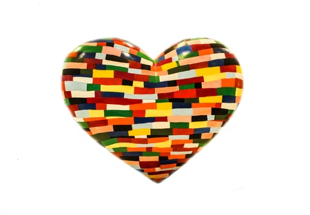 colorful painting on heart shape with white background photo