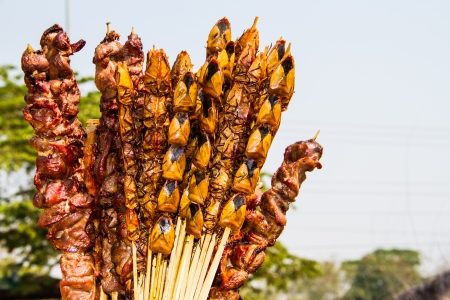 entrails: Entrails and insect BBQ  for sale in Laos