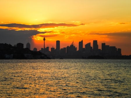 Sydney city with golden sky in the evening Stock Photo - 18783297