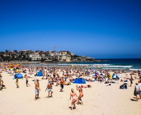 walk board: People relaxing at bondi beach on christmas day
