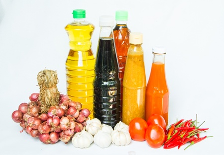 A bottles of oil and sauce with  food ingredient Stock Photo