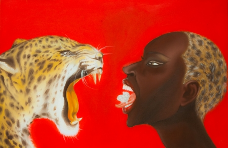 Oil painting of African woman and tiger Stock Photo