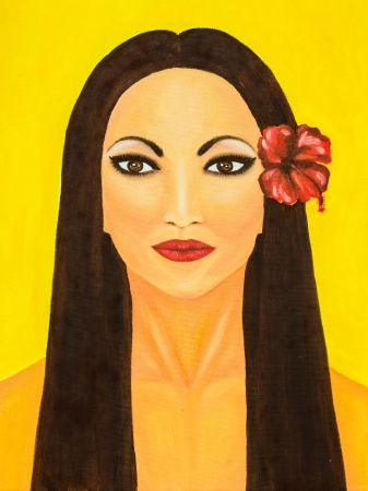 Oil painting of a woman with red flower photo
