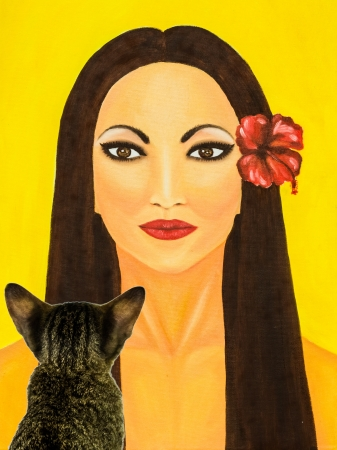 Cat watching oil painting of a woman with red flower photo