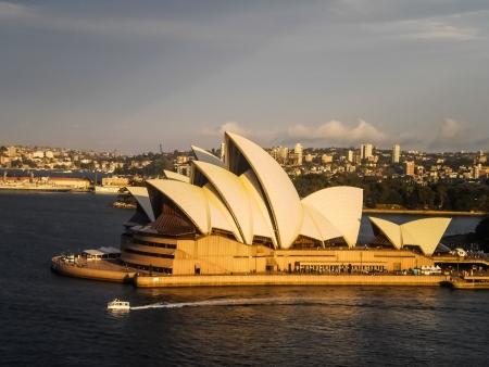 utzon: SYDNEY-SEPTEMBER 17   Sydney opera house  view from Sydney harbour bridge in Sydney,Australia on 17 September 2012  It was designed by Danish architect Jorn Utzon