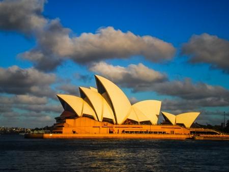 utzon: SYDNEY-OCTOBER 31   Sydney opera house with beautiful sky in  Sydney,Australia on 31 OCTOBER 2012  It was designed by Danish architect Jorn Utzon  Editorial