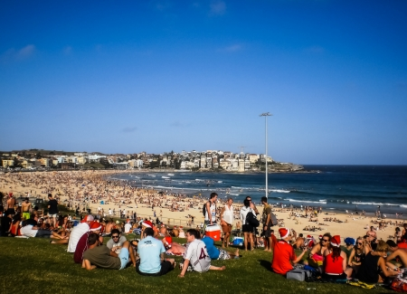 SYDNEY-DECEMBER 25 People relaxing for christmas day at  Bondi beach in  Sydney,Australia on 25 December 2012  Bondi beach is one of a famous beach in the world