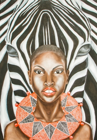 Oil painting of an african woman and zebra .