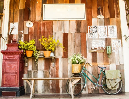 vintage wooden wall with vintage accessories foreground  Stock Photo
