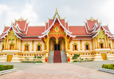 buddist temple building with Laos style decoration