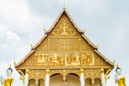 buddist temple building with Laos style decoration   photo