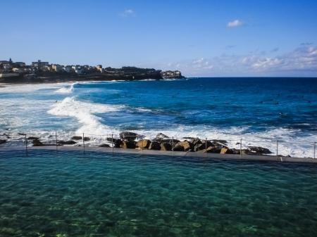 Swimming pool beside Bondi beach in Sydney,Australia. photo