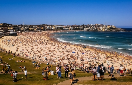 SYDNEY-JANUARY 1 :People relaxing on the beach to celebrate new year on 1 January 2013 at Bondi beach in Sydney,Australia.Bondi beach is one of the most famous beach in the world . Editoriali