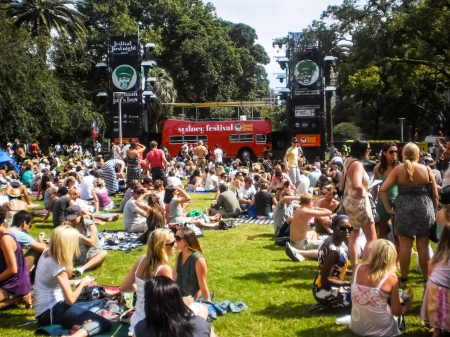 Sydney-January 7 : People enjoy music by DJ at Hyde park  for Sydney festival  in  Sydney,Australia on January 7,2012. Sydney festival start about January every year .