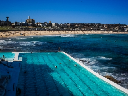 Swimming pool beside Bondi beach in Sydney,Australia. photo