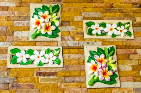 Beautiful flaster flower on wall . photo