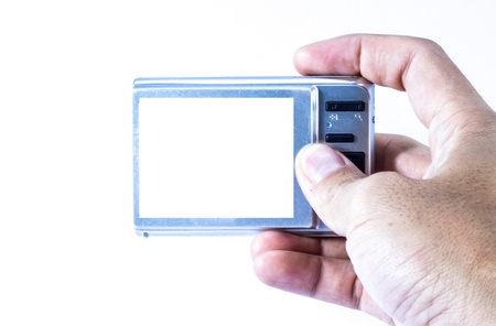 Compact digital camera on the white background  photo