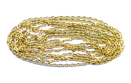 Golden chain on the white background  photo