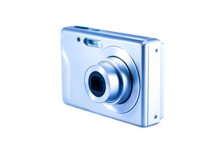 megapixel: Compact digital camera on the white background.