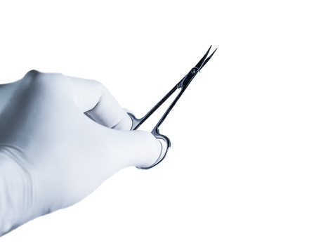 Scissors holding by hand on the white background.