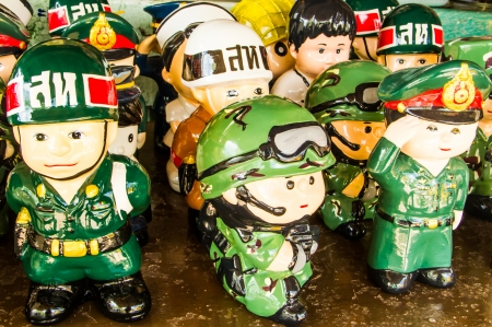 retros: Ceramic toys with various occupation uniform  Stock Photo