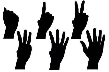 Black hand sign on the white background.