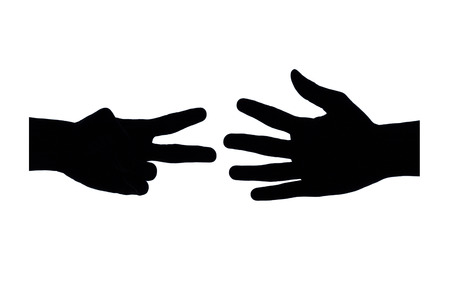 Black hand sign on the white background. photo